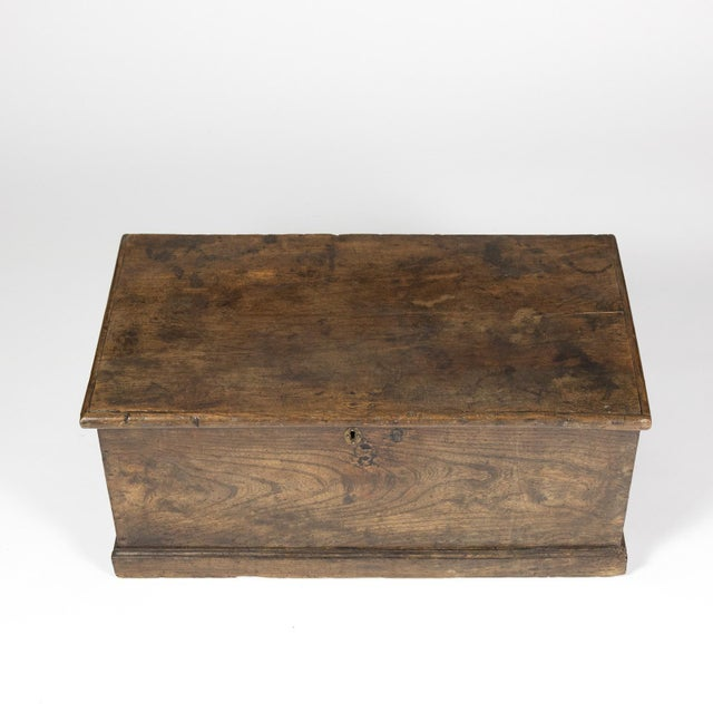 Brown Rustic Chestnut Trunk With Over-Scale Iron Hinges, English Circa 1860. For Sale - Image 8 of 13