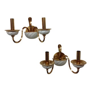 F Fabbian Italian Brass & Ceramic Sconces - Pair