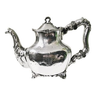 Antique Silver Plate Teapot From Hotel Touraine Boston For Sale