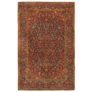 Antique Kashan Traditional Red and Blue Silk Persian Rug - 4′5″ × 6′8″ For Sale