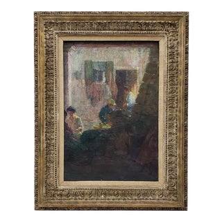 "Remarkable Impressionist ""Chinatown Tea Break"" Original Vintage Oil Painting C.1940s For Sale"