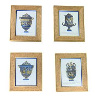 Gilt Framed Prints of Urns With Matte Cobalt Liner - Set of 4 For Sale