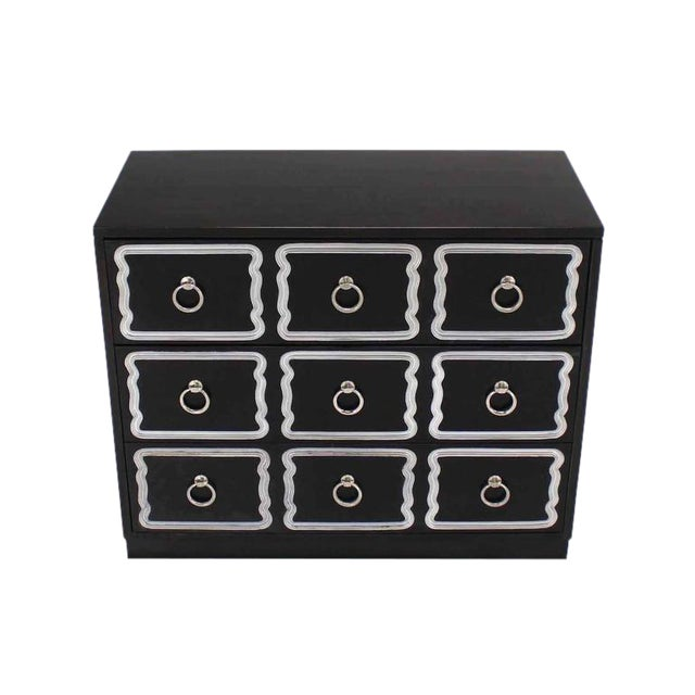 Wood Mid-Century Modern Dorothy Draper Black and Silver Three Drawer Chest of Drawers For Sale - Image 7 of 7