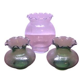 Anchor Hocking Light Green Glass Vases - Set of 3 For Sale