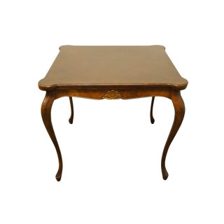 "French Provincial 34"" Square Accent Game Table With Pull Out Coasters For Sale"