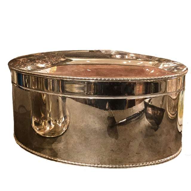 Vintage English Oval Silver Plate Box For Sale - Image 4 of 5