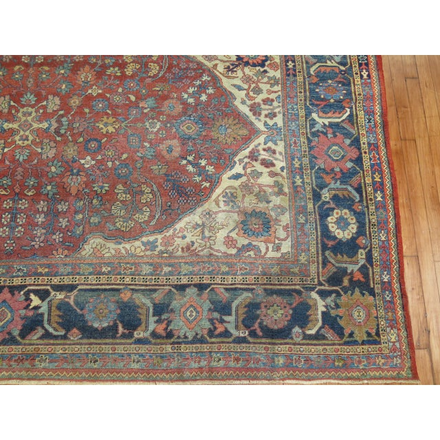 Early 19th Century Shabby Chic Persian Sultanabad Rug 9'3'' X 12'6'' For Sale - Image 5 of 9