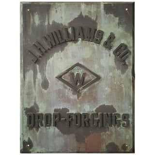 "Rare 1880s Handmade Copper/Bronze Sign, Plaque ""J.W. Williams Drop Forgings"" For Sale"