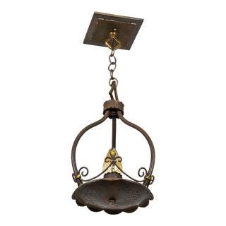 1920s Spanish Revival 1-Light Iron Pendant W/ Fluer De Lis For Sale