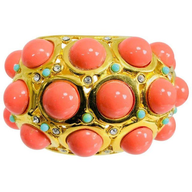 Pink Kenneth J Lane Faux Coral Turquoise Rhinestone Gold Clamp Cuffs Bracelet For Sale - Image 8 of 8