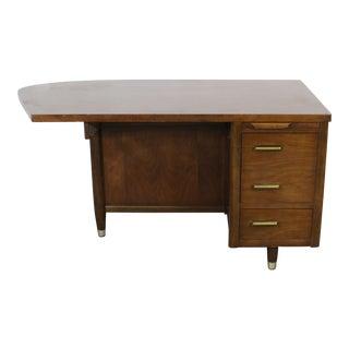 Mid-Century Danish Modern Atomic Curved Walnut Desk For Sale