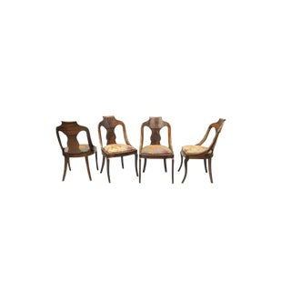 Late 19th Century Antique American Empire Crotch Mahogany Saber Leg Gondola Dining Chairs- Set of 4 For Sale