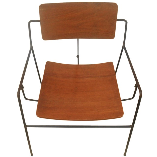 Arthur Umanoff Iron & Walnut Swing Chair - Image 1 of 8