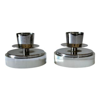 Art Deco Lucite Chrome Candle Holders - a Pair For Sale