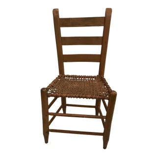 20th Century Rustic Ladder Back Chair With Rope Seat For Sale