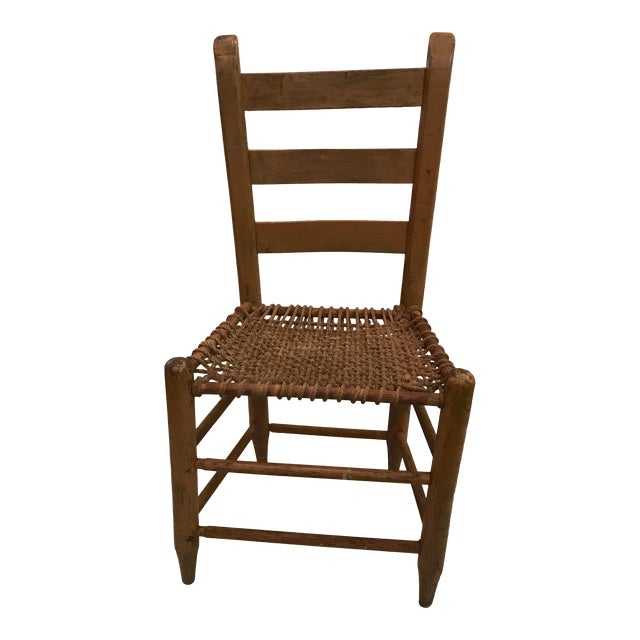 20th Century Rustic Ladder Back Chair With Rope Seat For Sale - 20th Century Rustic Ladder Back Chair With Rope Seat Chairish