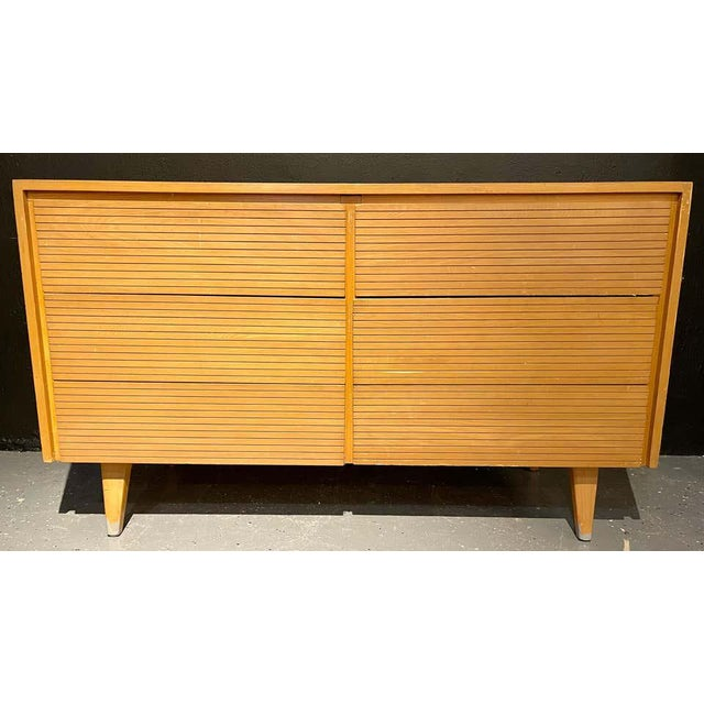 Wood Six-Drawer Mid-Century Modern Commodes, Chests or Dresser - a Pair For Sale - Image 7 of 13