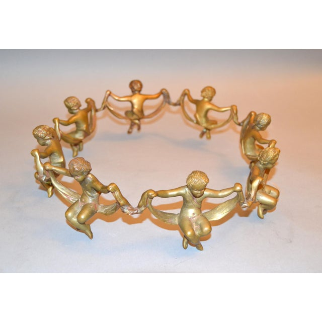 Vintage Decorative Handcrafted Bronze Oval Cherub Table Sculpture or Centerpiece For Sale - Image 9 of 10