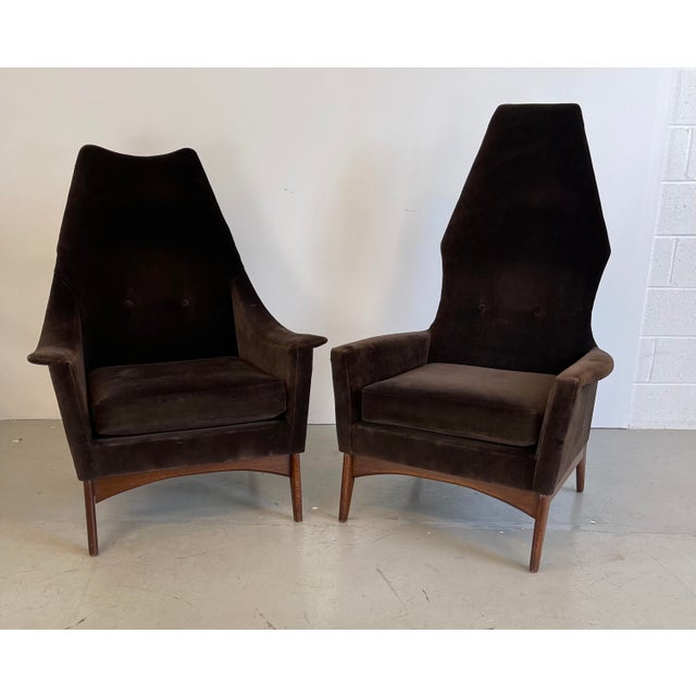 Chocolate 1960s Adrian Pearsall Attributed High-Back Lounge Chairs - 2 Pieces For Sale - Image 8 of 8