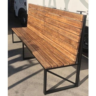New Park or Garden Bench in Iron Structure With Wood Slabs, Indoor and Outdoor Preview
