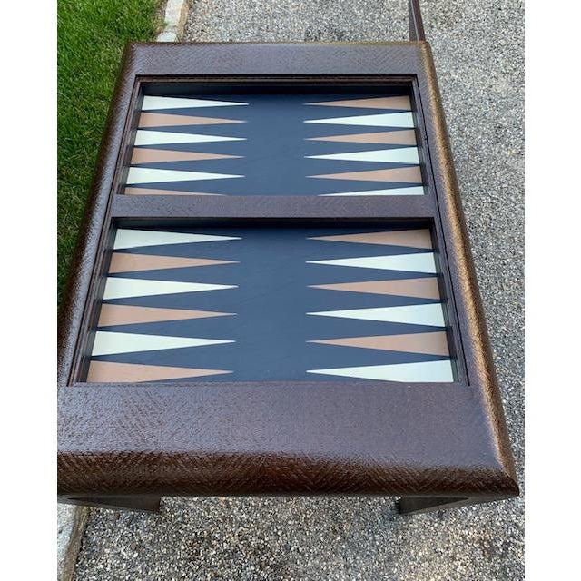 1980s Vintage Karl Springer Grasscloth Covered Backgammon Table For Sale - Image 5 of 11