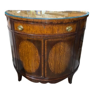 Vintage Demilune Half Round Rosewood Banded Hall Console Cabinet For Sale