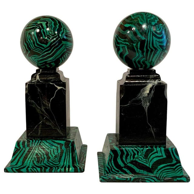 Bob Christian 1987 Faux Malcihite Orbs - a Pair For Sale - Image 13 of 13