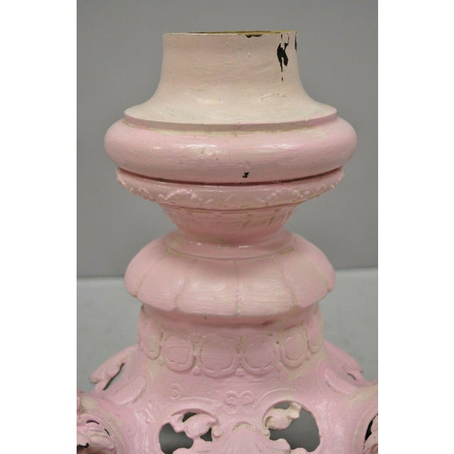 Pink Antique French Empire Style Cast Iron Pedestal Side Table Base With Lions For Sale - Image 8 of 13