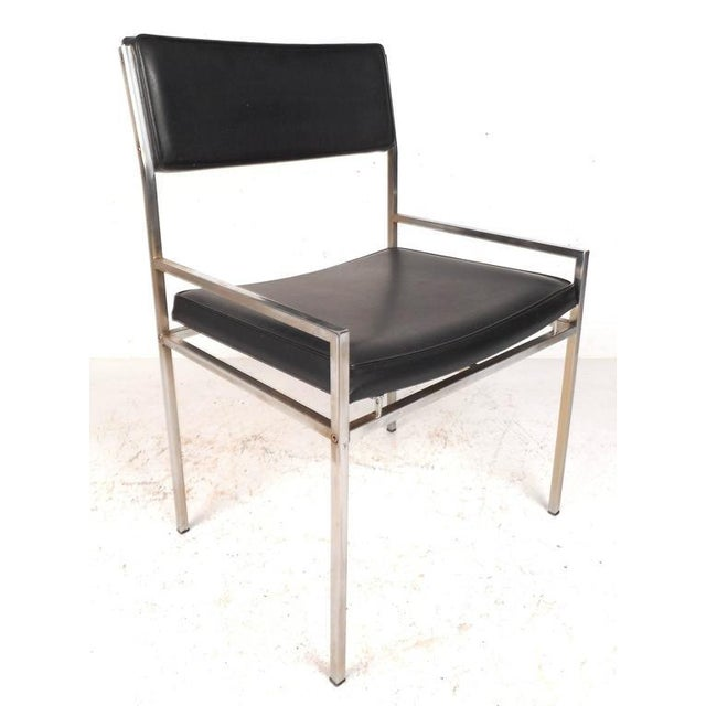 Mid-Century Modern Mid-Century Modern Chrome & Vinyl Dining Chairs - Set of 4 For Sale - Image 3 of 10