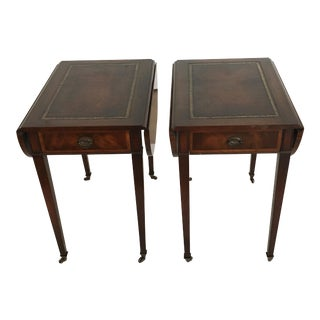 Mahogany With Leather Insert Top Pembroke Tables - a Pair