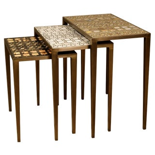 Nesting Tables Shagreen/Shell, Bronze-Patina Brass by R&y Augousti-Set of 3 For Sale