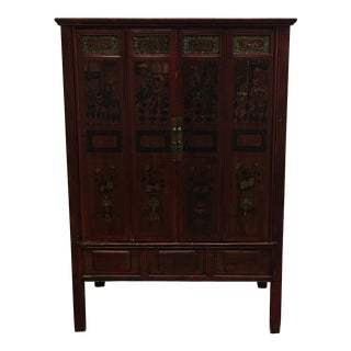 Vintage Hand Painted Asian Wedding Cabinet