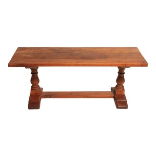 Vintage Oak Trestle Coffee Table For Sale