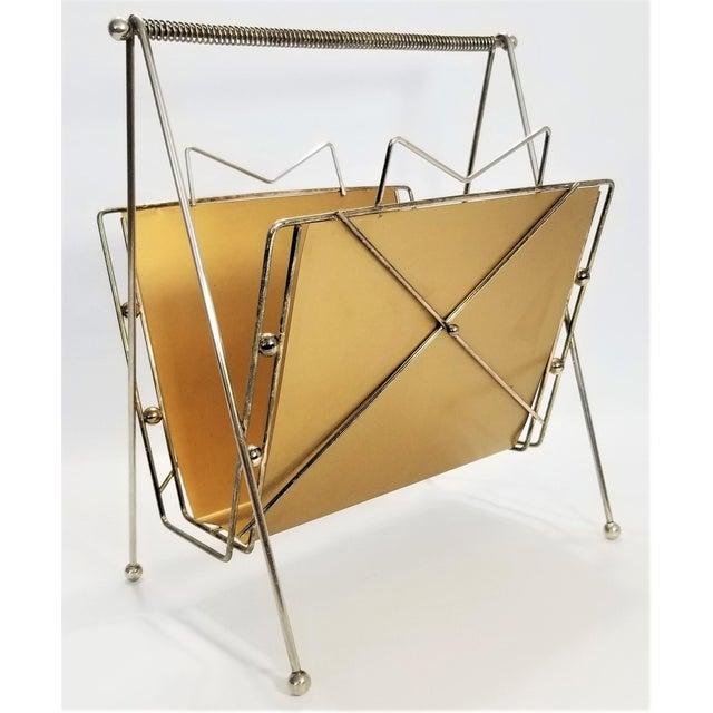 Rare Atomic Mid Century Modern Magazine Holder Rack - Sputnik Era 1950s Abstract Minimalist Art Deco For Sale - Image 13 of 13