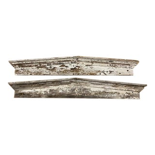 Rustic Wooden Architectural Element Pediments - a Pair For Sale