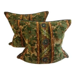 Cut Velvet Green Pillows - A Pair For Sale