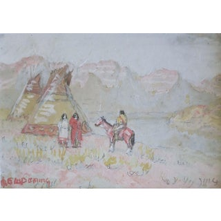 Native American Painting by Edwin Willard Deming For Sale