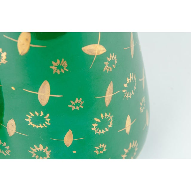 Green Vintage Italian Green Porcelain Decorative Vases - a Pair For Sale - Image 8 of 11