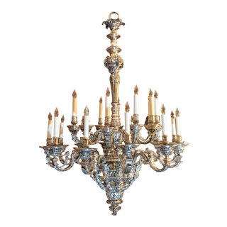 Exceptional Antique French 19th Century Silver on Bronze 24 Light Chandelier