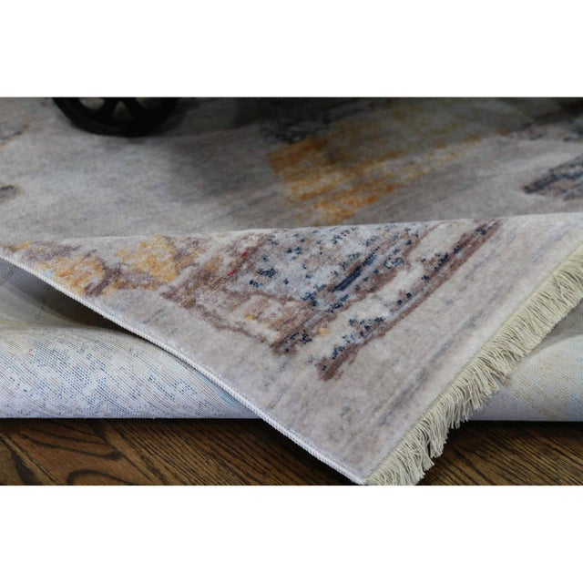 Pastel Faded Southwestern Kilim Patterned Tribal Cotton Rug - 4'x6' For Sale - Image 7 of 10