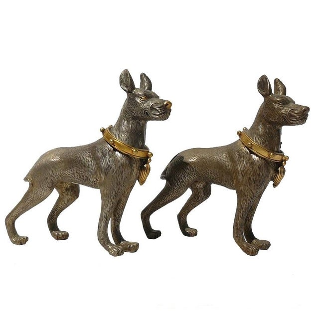 Metal Mini Table Top Dogs Figure - Pair - Image 1 of 5