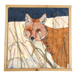 Original Contemporary Mixed Media Collage Fox Painting For Sale