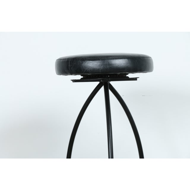 Wrought Iron Leather Seat Bar Stools - Set of 3 - Image 7 of 11