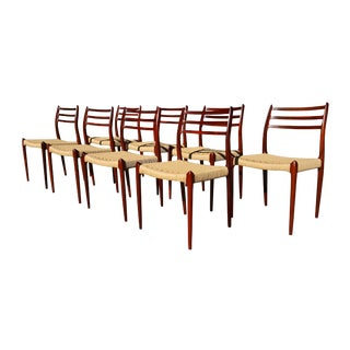 1960s Danish Modern Moller 78 Dining Chairs - Set of 8 For Sale