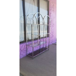 Milo Baughman Style Chrome and Glass Shelf / Etagere Preview