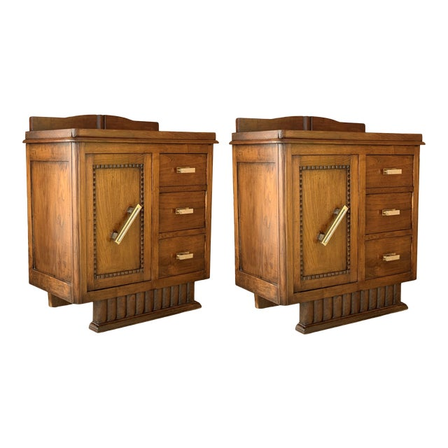 Pair of Spanish Art Deco Heavily Hand Carved Bedside Tables Nightstands, 1920s For Sale
