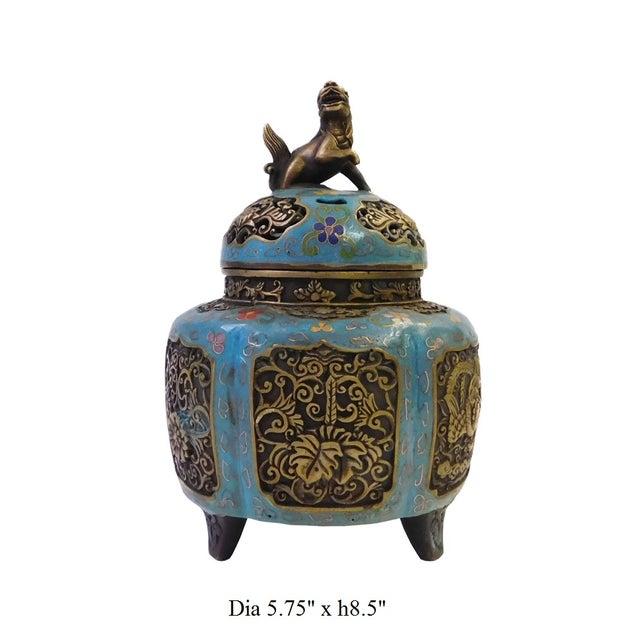 Metal Blue Enamel Cloisonne Incense Burner For Sale - Image 7 of 7