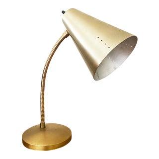 Mid-Century Brass Lamp Gooseneck Cone For Sale