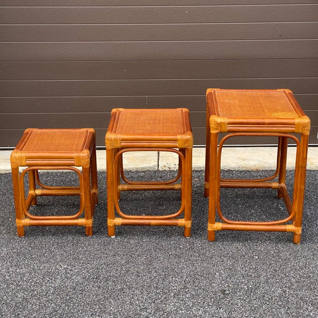 Leather Wrapped Rattan Nesting Tables - Set of 3 For Sale - Image 11 of 13