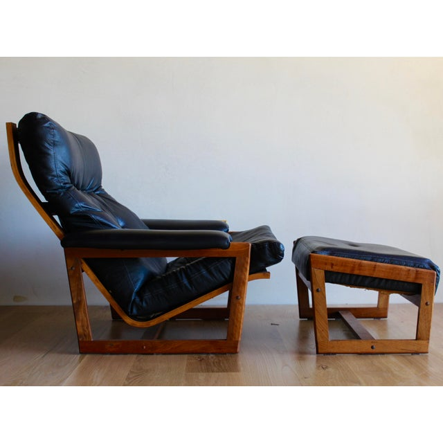 Swedish Mid Century Lennart Bender for Ulferts Mobelfabrik Walnut Bentwood Lounge Chair and Ottoman Danish Style - a Pair For Sale - Image 9 of 9